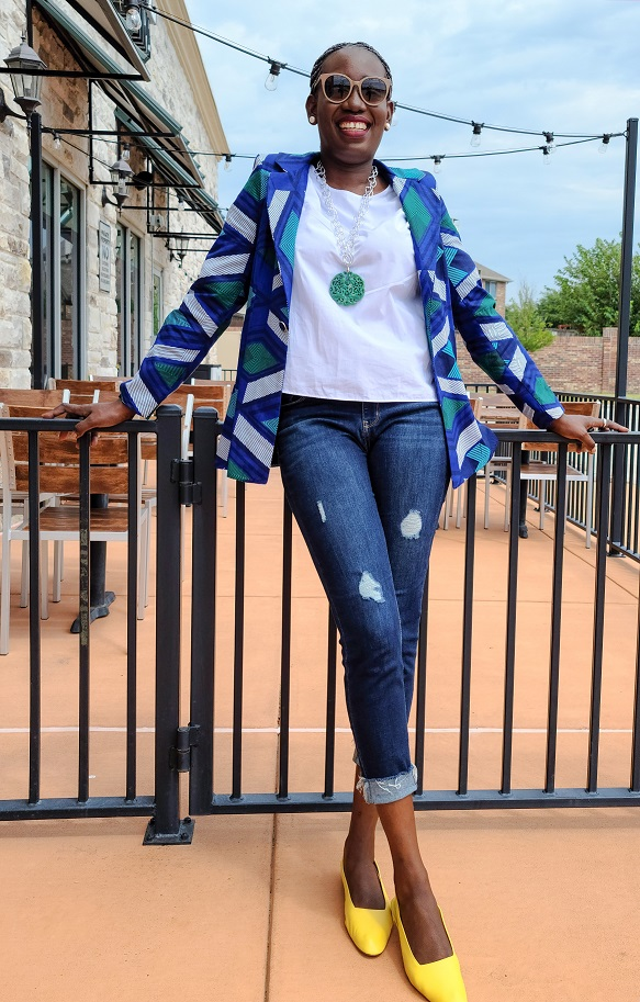 African print blazer on white tops and jeans styling for fall